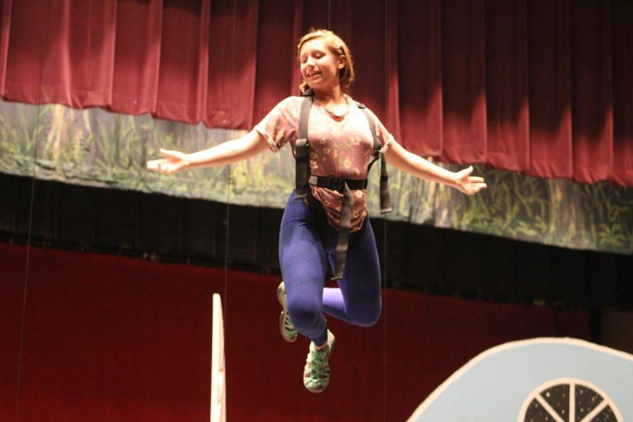 Senior Kathryn Evans goes up in the air during flight school