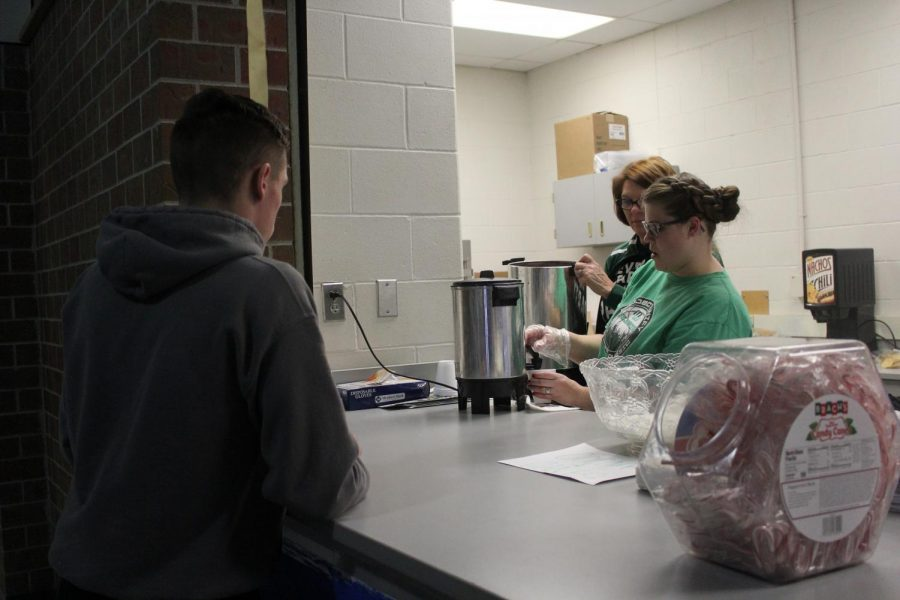 Hot chocolate is served to the students who haven't been late.
