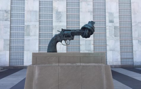 In 1988, this statute, completed by Carl Fredrik Reuterswärd, was donated to the United Nations by the government of Luxembourg and is now a symbol of peace and hope across the world.