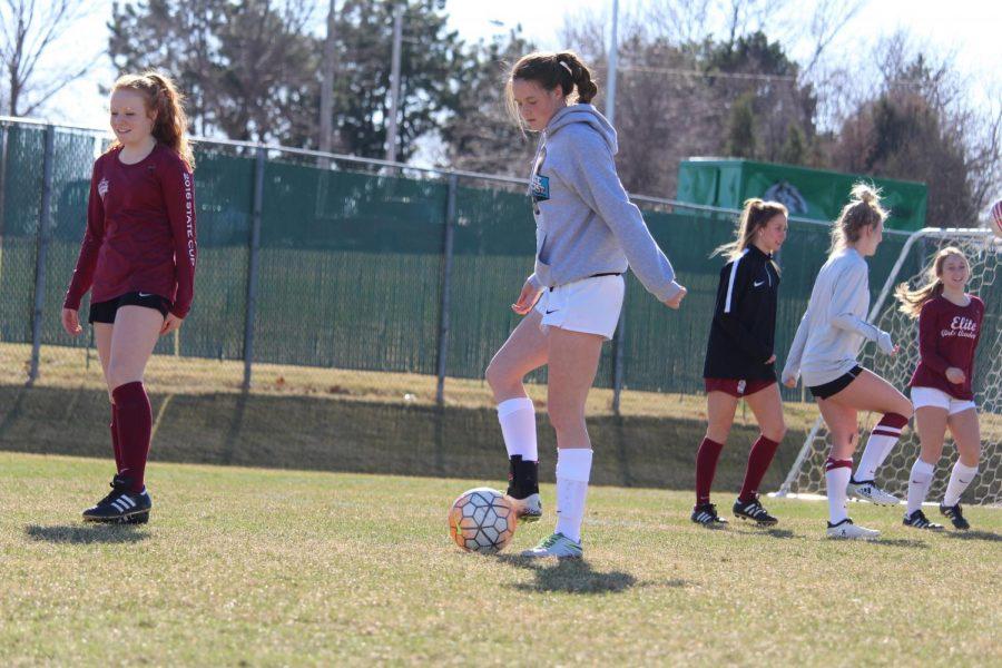 Girl Varsity Soccer preparing for their season. Photo by McKenna Nordbrock.