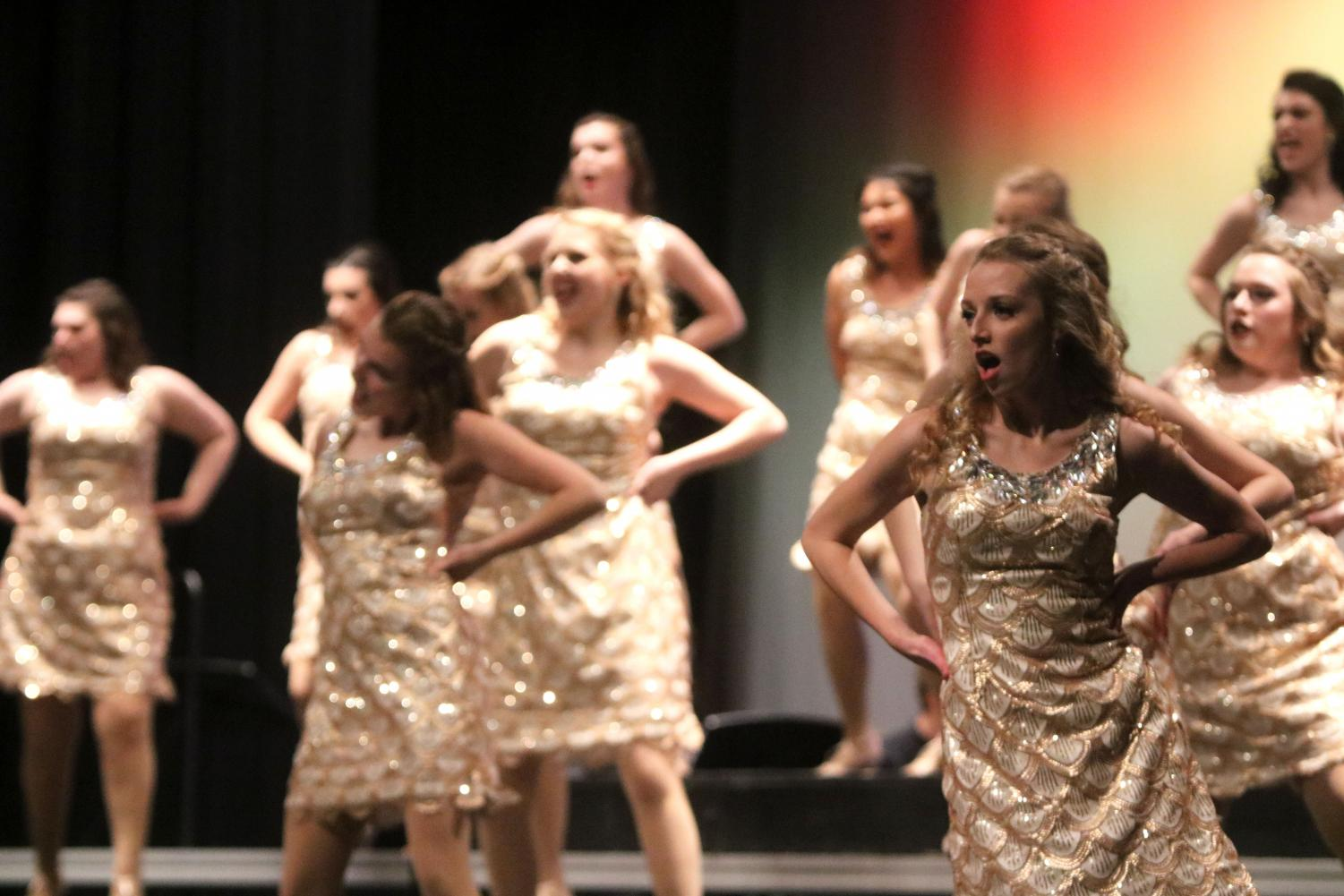 Senior+Katelyn+Gonzales+gets+sassy+during+the+song+Vogue.+