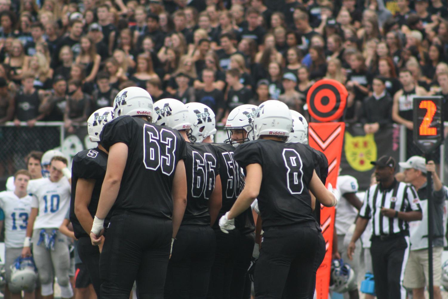 The Wildcats huddle preparing for their next play.