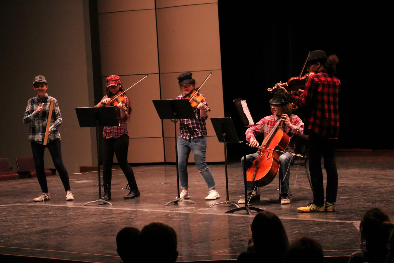 Instrumental group Fedoras and Flannels won second place from the audience.