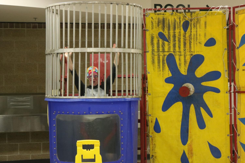 English teacher Lauren McKenzie in the dunk tank.
