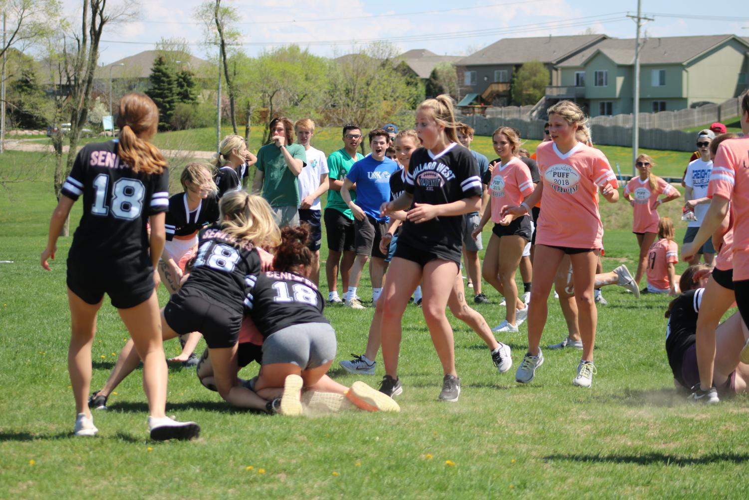 Ashtin Young and Ashleigh Shafer taking down a junior