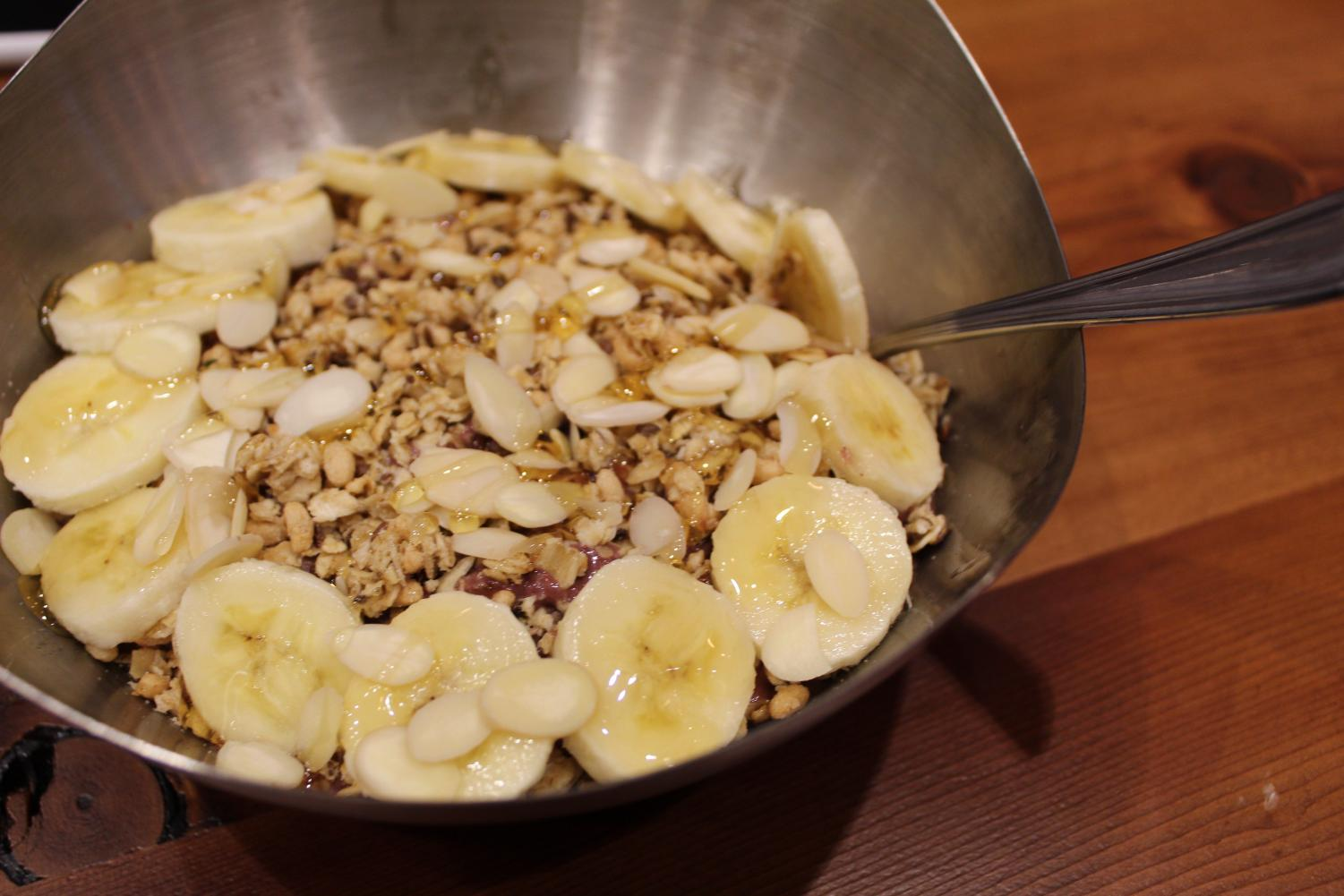 Vitality Bowls had a diverse menu with combinations of flavors sure to make your mouth water. Here I feast on the Nutty Bowl,  one of their most popular dishes. It combines their açaí mix, granola, bananas and honey for a delicious and refreshing meal.