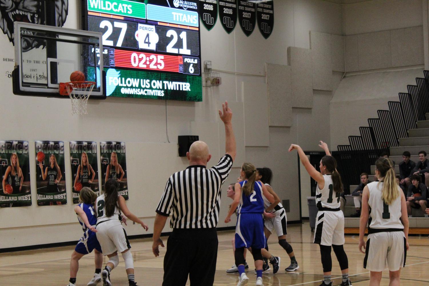 Freshman Jetta Hoffner scores a free throw in the fourth quarter to help pull off a Wildcat win.