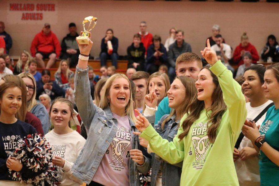Smiling+wide%2C+senior+Chanley+Forst+accepts+the+traveling+trophy.+Forst+is+a+member+of+Senior+Class+Board+and+volunteered+to+receive+the+trophy+on+behalf+of+Millard+West+for+beating+Millard+South+in+a+T-shirt+selling+contest+to+raise+money+for+the+American+Cancer+Society.+%E2%80%9CAccepting+the+trophy+was+nerve+racking+because+it+was+in+front+of+the+whole+crowd+at+the+basketball+game%2C%E2%80%9D+Forst+said.+%E2%80%9CI+forgot+about+being+nervous+when+I+was+actually+up+there+because+the+money+we+raised+is+for+such+a+great+cause.%E2%80%9D
