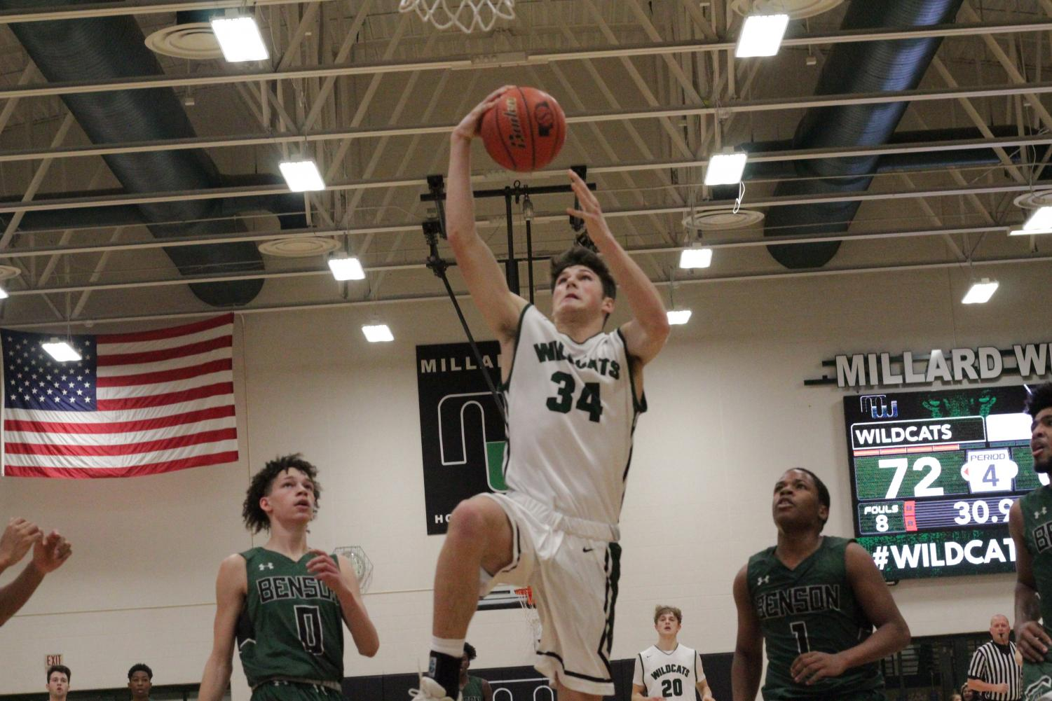 Junior Tristan Gomes goes up for a lay-in in a game vs Omaha Benson on Feb. 8th.