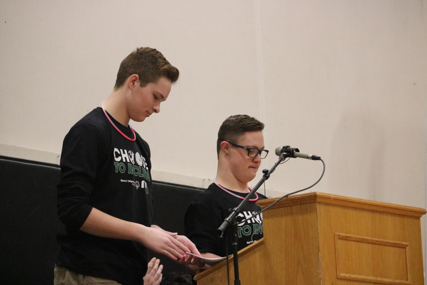 Sophomore Hogan Wright and unior Joey Drwal gave a partner speech at the Unified Banner Presentation.