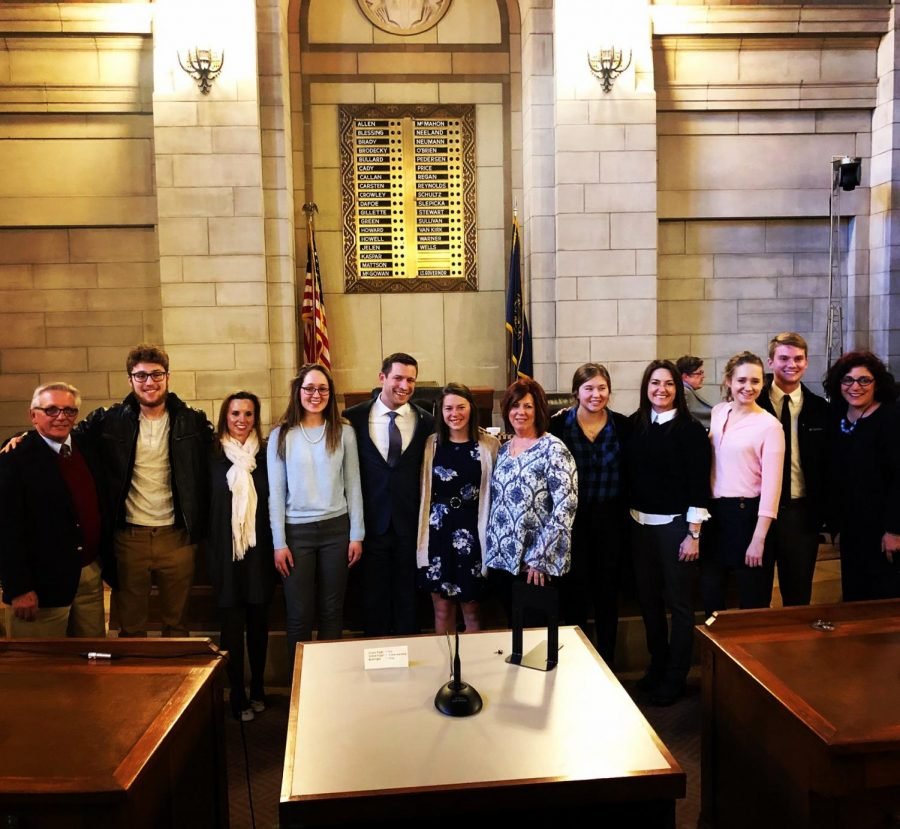 Senator Adam Morefield with student, advisors and their legal help who all testified Feb. 1st for the bill to pass.