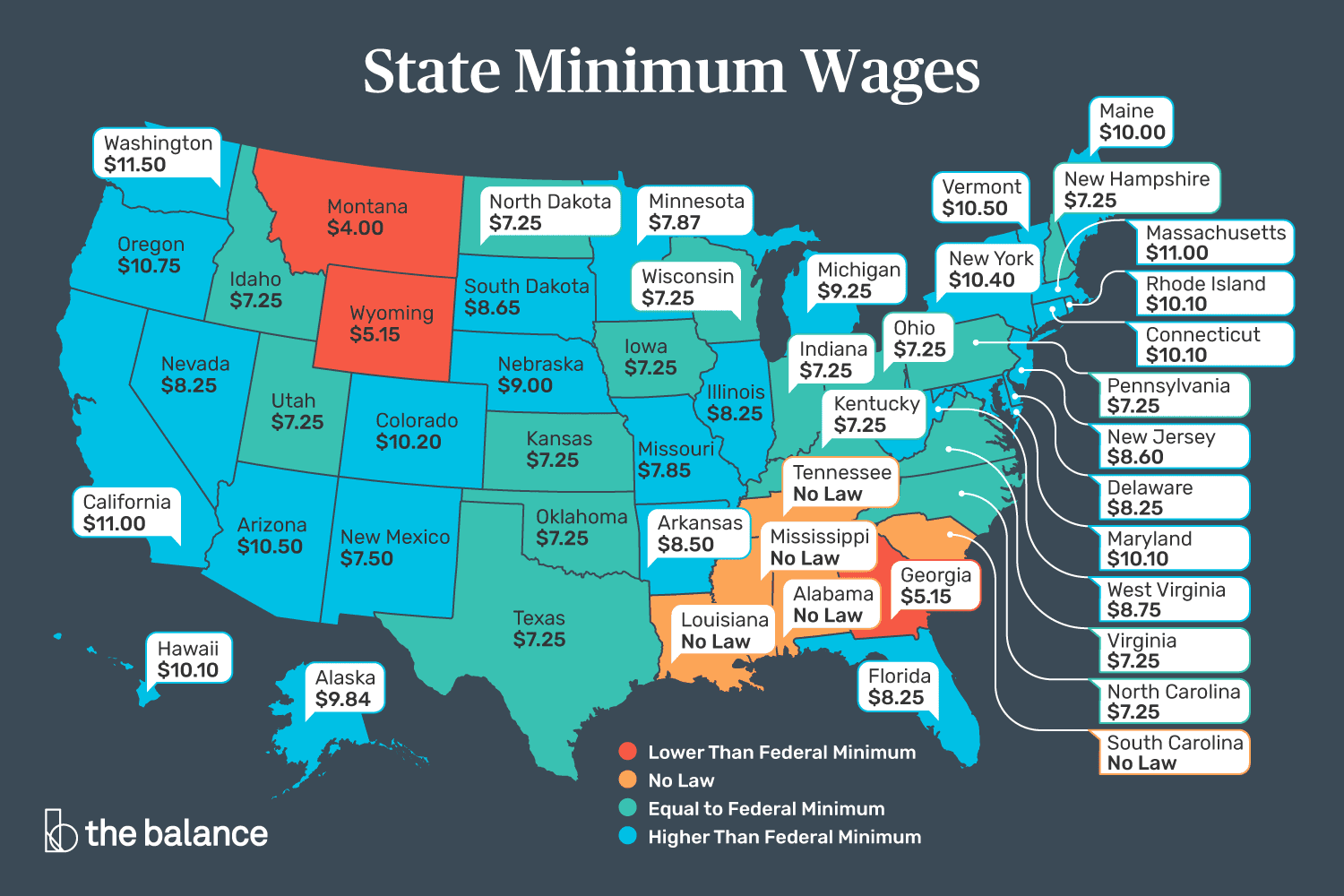 This map shows all the sates minimum wage.