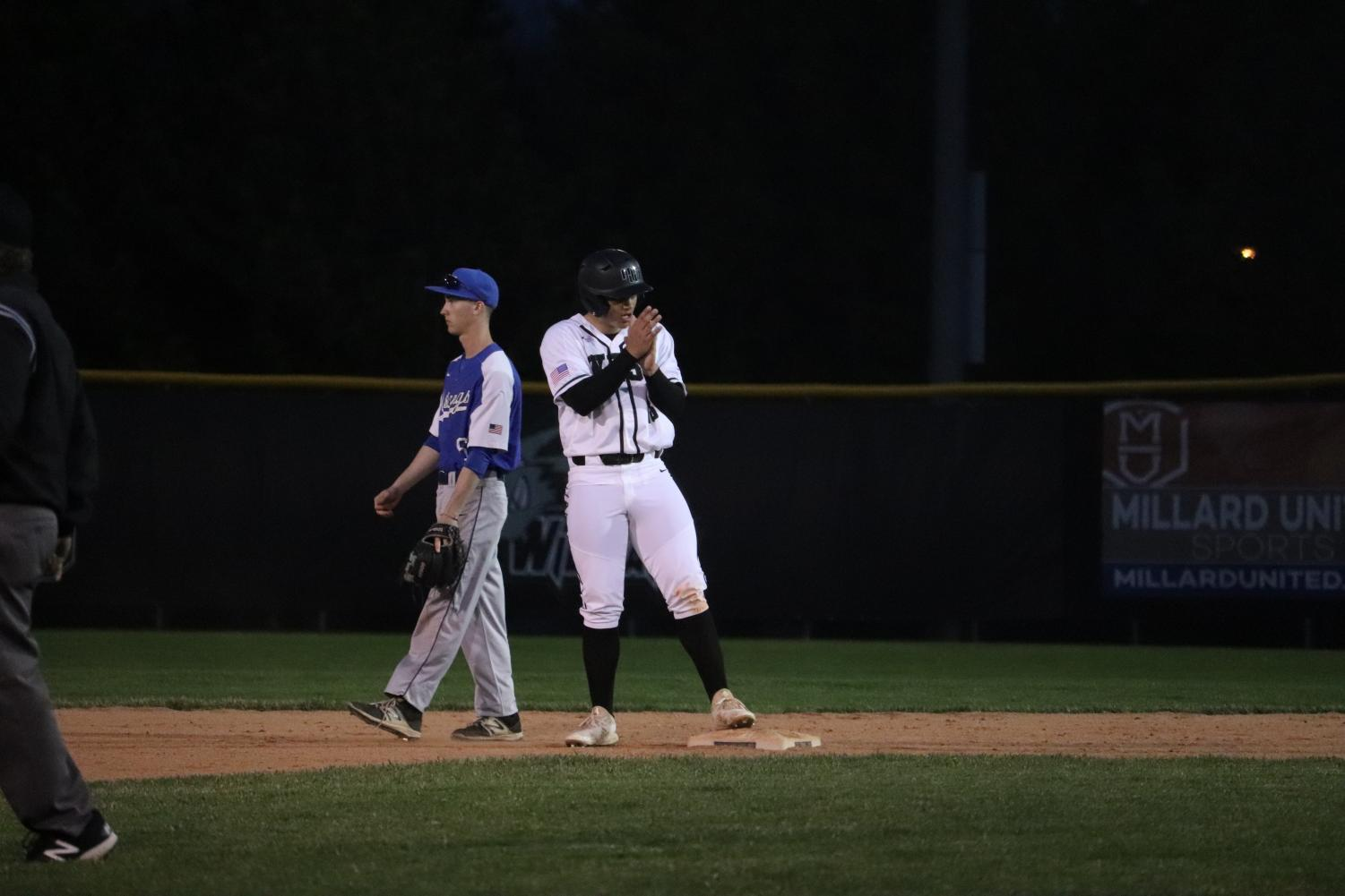 Senior+Jackson+Wright+letting+out+a+relief+as+he+stands+safe+on+second+base.+