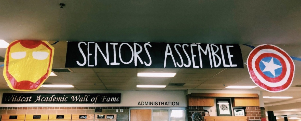 Decorations are set up throughout the commons and the front of the school to celebrate the end of this school year as well as the new year's seniors.