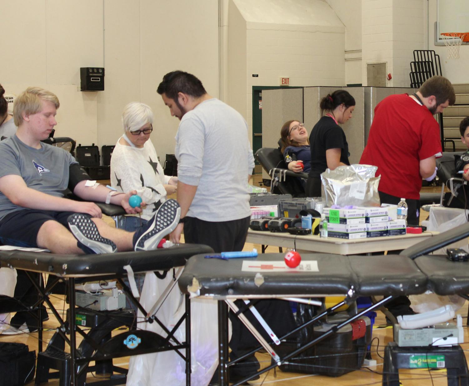 Several students participated in the Jim Johnston Memorial Blood Drive on Friday, May 3. Photo by Olivia Edwards.