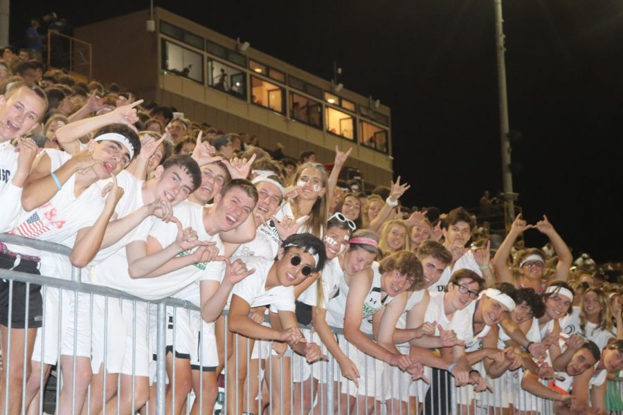 Student section posing for a picture