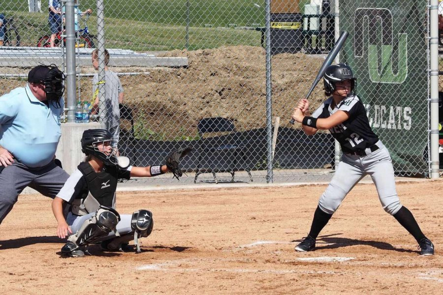 Junior Delaney Richardson is up at bat for the Millard West Varsity Softball team. This was her first game playing after being cleared from her most recent injury.