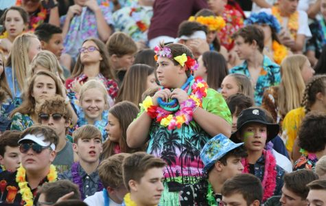 The student section showed up to support the Wildcats on Hawaiian Night.