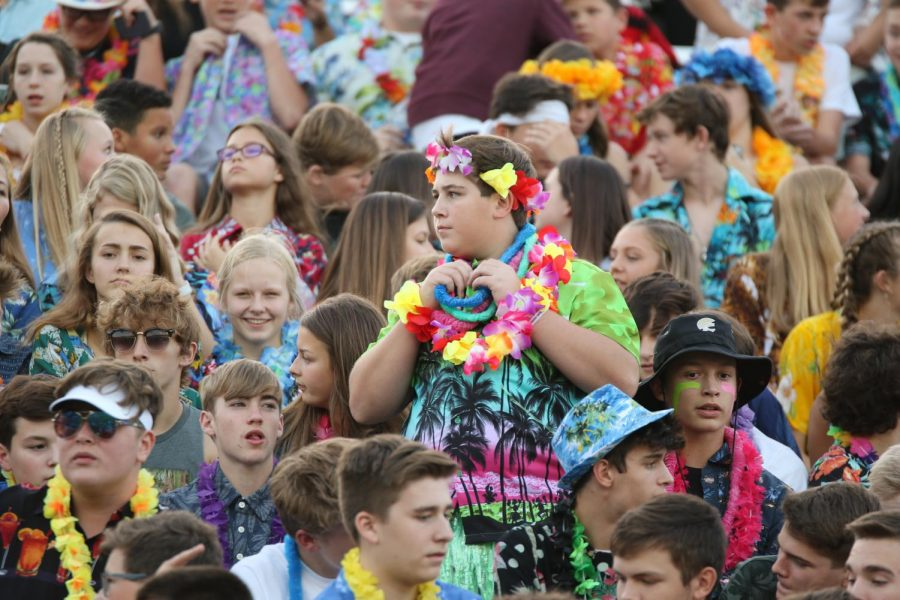 The+student+section+showed+up+to+support+the+Wildcats+on+Hawaiian+Night.
