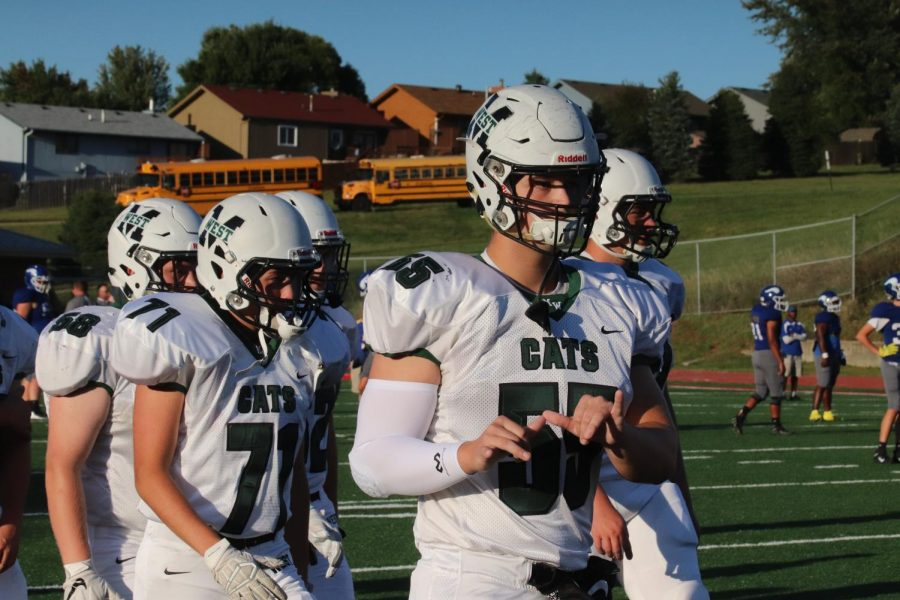 Senior defensive lineman Baylor Brannen hyped up before the game.