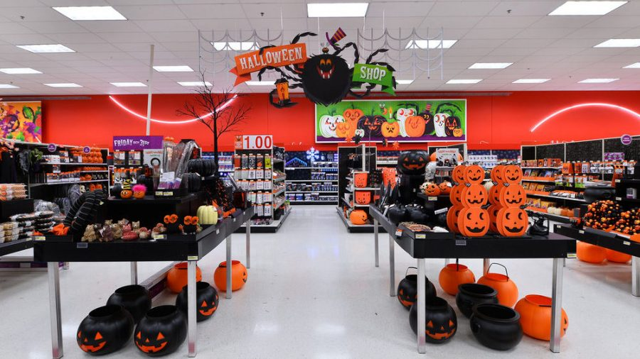 Target%27s+new+display+of+spooky+and+haunted+decorations+set+up+for+the+fall+and+Halloween.