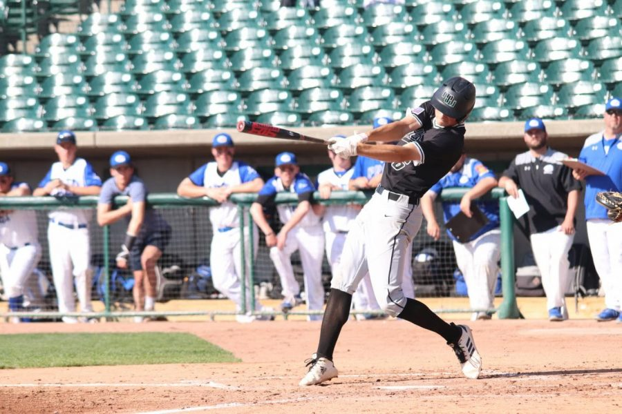 """Tristan Gomes takes a huge swing furthering West to State. This game was against Creighton Prep and at Haymarket park in Lincoln. """"I remember we were really excited to beat prep and go to the state championship,"""" Gomes said. """"It had been what we were working for our whole season, and to achieve that felt amazing."""""""
