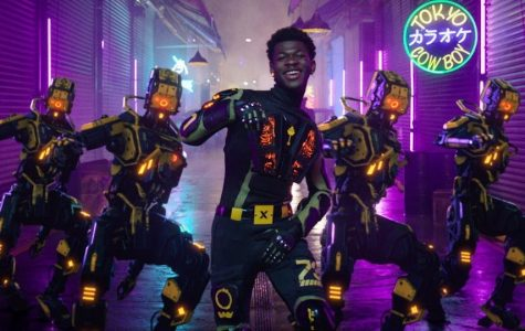 Lil Nas X dances to his new hit song Panini in his music video.