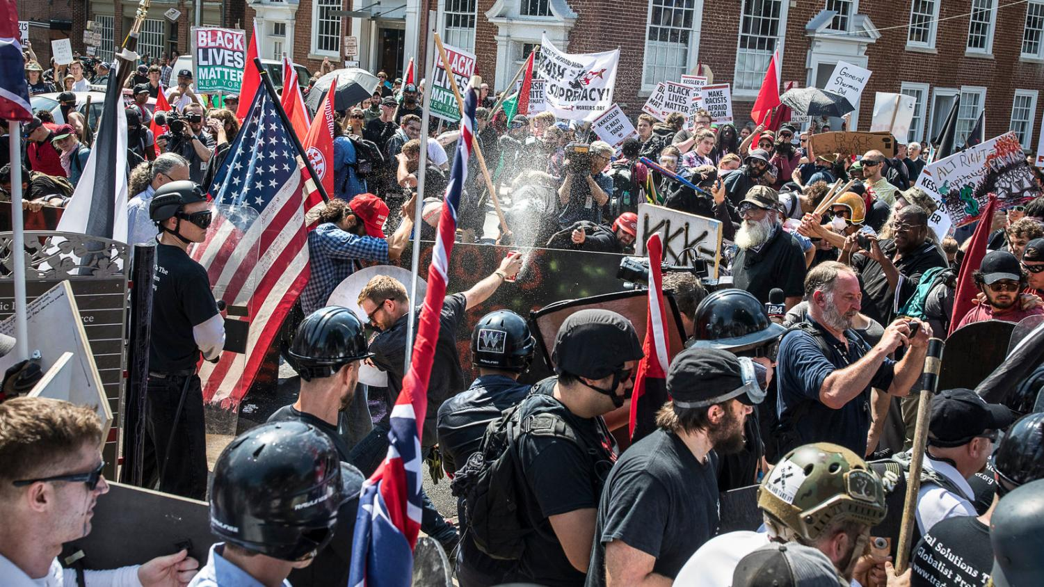 Extremists, neo-nazis and members of the alt-right hold a demonstration in Charlottesville, Virginia. Participators had used Facebook to organize the event and spread racist messages. According to a survey by the Anti-Defamation League, one-third of social media users have been the targets of online hate speech.