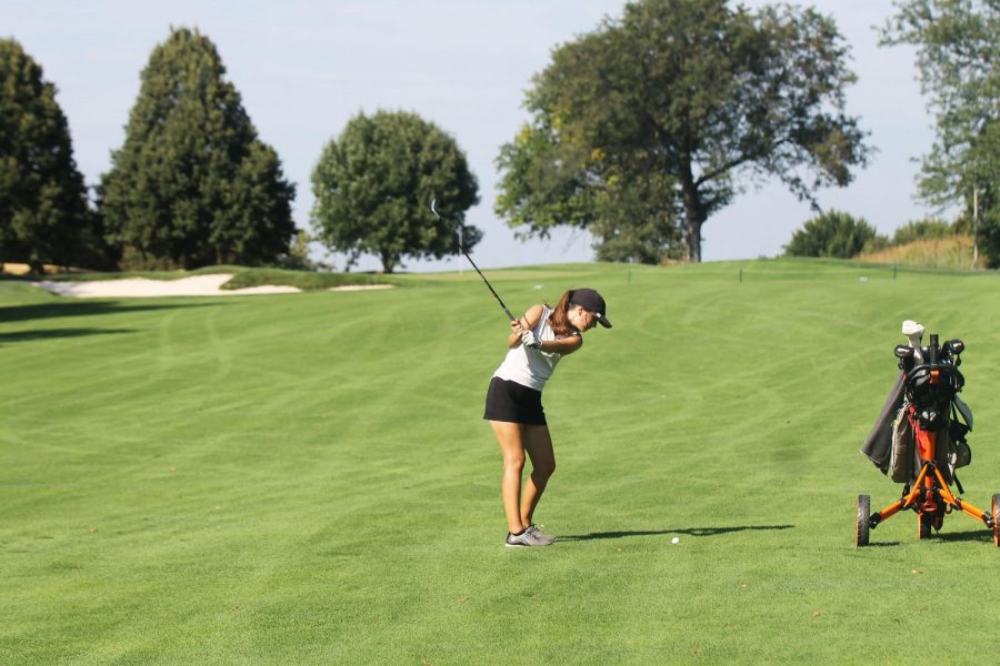 "Senior Hailey Reavis shot a 94 at the girls varsity golf A-1 District Tournament. ""I did good, but I feel like I could improve my short game on the green,"" Reavis said. ""My chipping and putting hurt me in the end more than anything."""