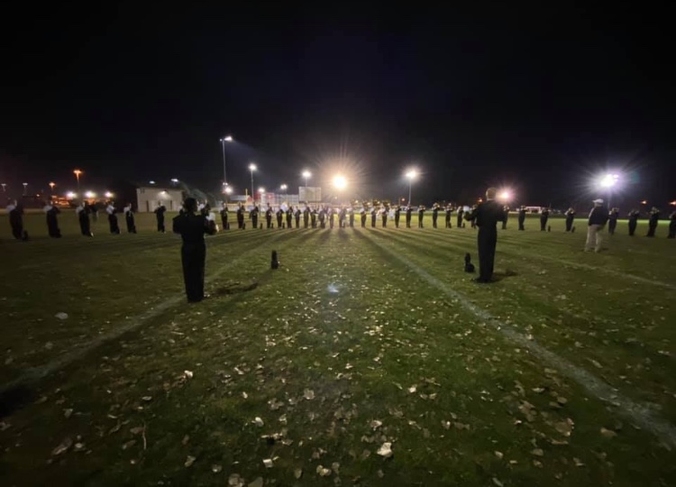 Millard+West+band+lines+the+field+at+State.+The+members+prepare+for+their+last+performance+of+this+season.