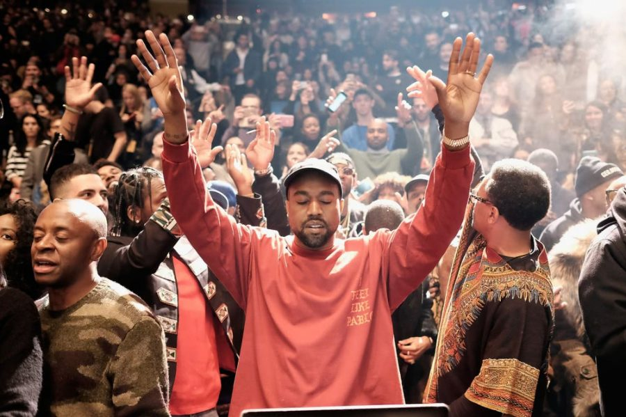 Kanye West celbrating at his listening party for his 2016 album The Life of Pablo. Kanye has made very little music since then, including 2018s Ye and Kids See Ghosts.