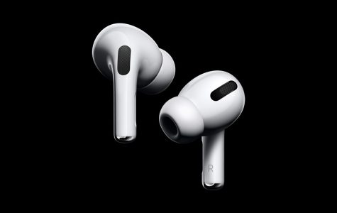 This is the new design of the Apple Airpod Pros. This picture shows many of the features including the silicone tips and force sensor along with some other external features.
