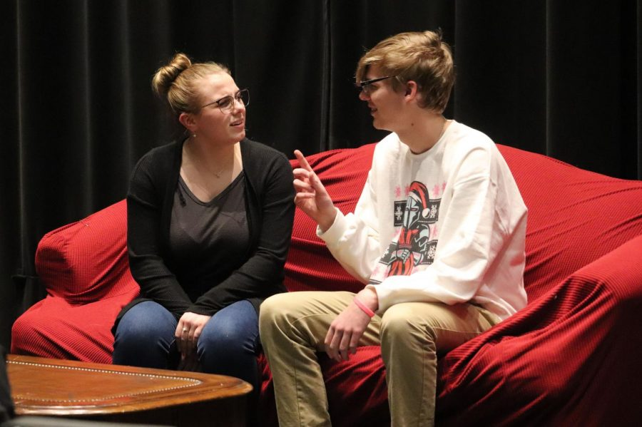 Juniors Cloey Gray and Jack Defreece can be seen passionately talking in Hunter Amos's play Martha!. The Advanced Theatre class spent time creating student written plays and performed them in front of an audience.