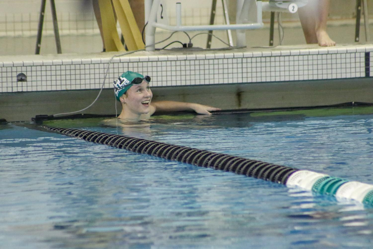 Sophomore Emily Gilbert goes a 6:42 in the 500 freestyle and dropping 45 seconds from her previous best time.