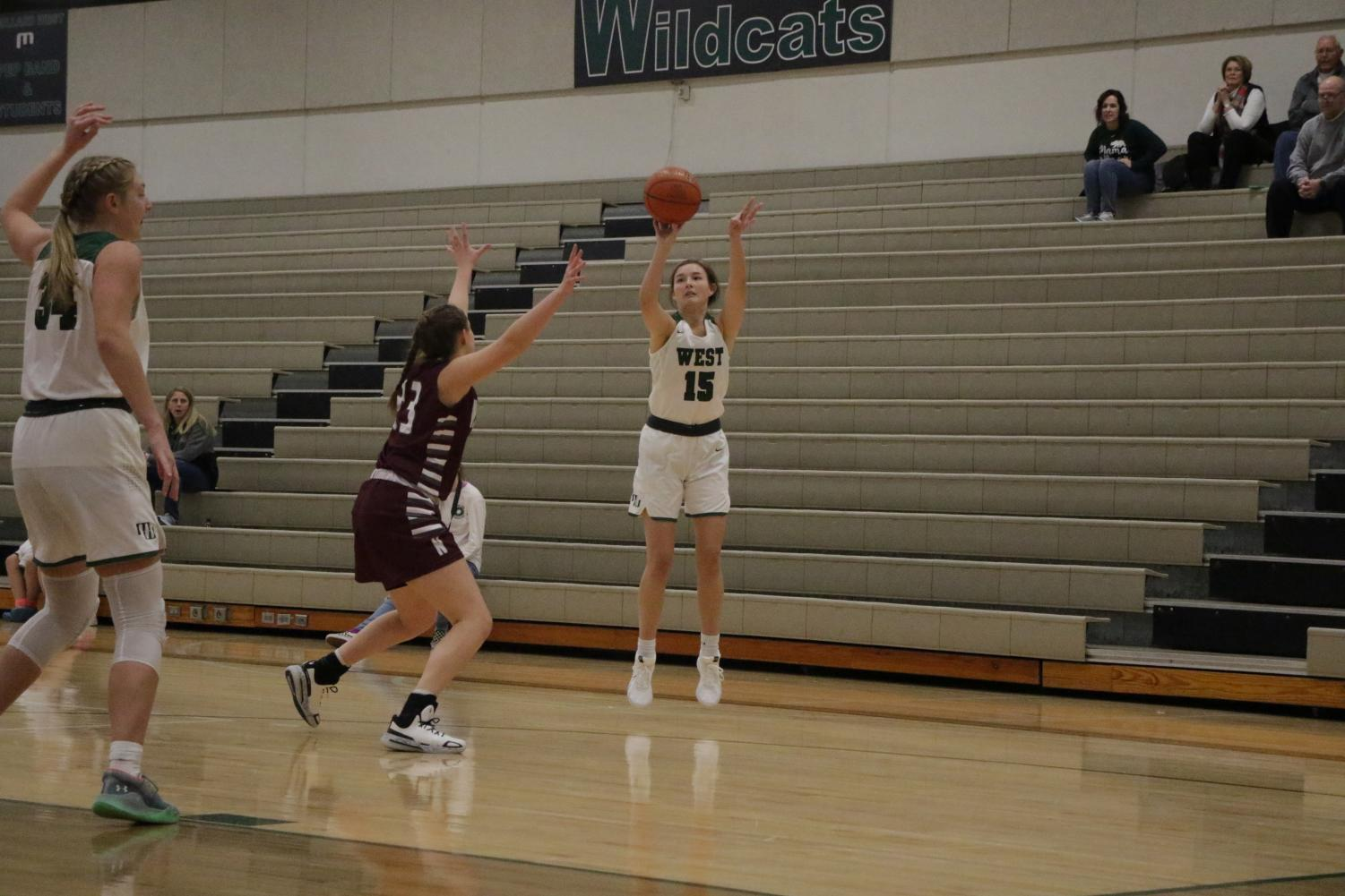 The Wildcats took down the Panthers 57-36. Darner took this three to increase the lead significantly against Norfolk.