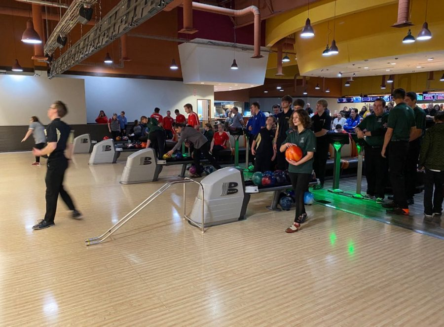 Millard West Unified Bowling team bowls in various lanes and competes to knock down the most pins.