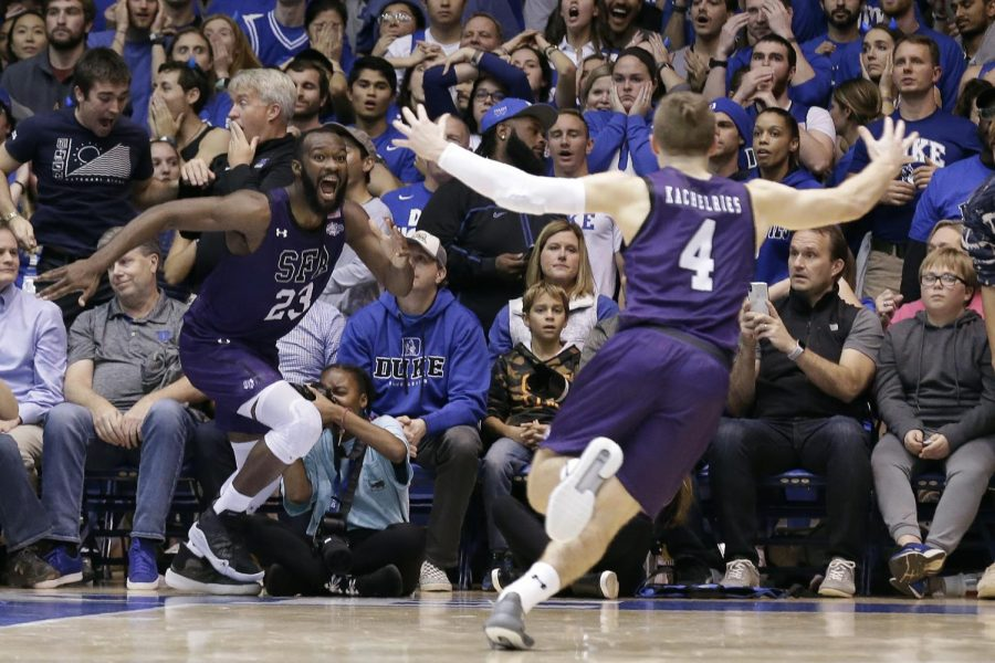 Stephen F. Austin's Nathan Bain celebrates his game winning buzzer beater against number one Duke. The Lumberjacks are currently Duke's only loss.