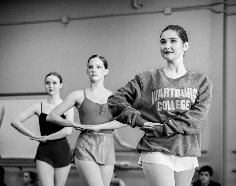 """Freshman Ellie Gorman rehearses with American Midwest Ballet for their production of The Nutcracker. Gorman has been dancing for a majority of her life but began dancing with AMB one year ago. Throughout that year she has improved greatly and learned new skills. """"Dancing with AMB has taught me so much,"""" Gorman said. """"The most important thing is patience. AMB helped me understand that I am not the only one performing so I have to wait patiently"""""""