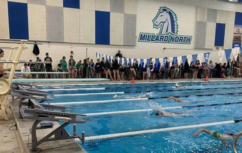 The boys varsity swim team take 3rd place and the girls varsity swim team take 6h place at the fifth annual Millard North Invitational.