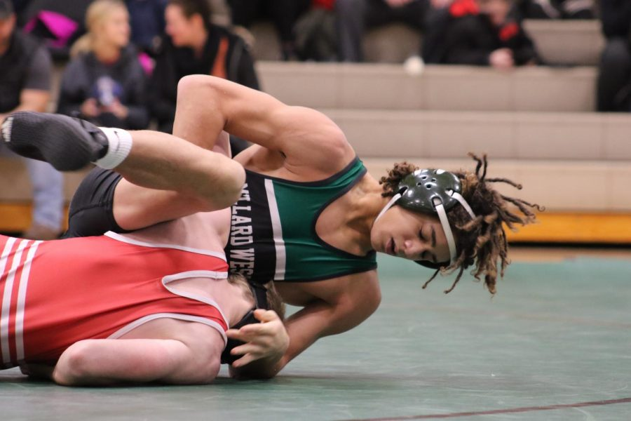 Photo by Tenley Wright. Millard West Wrestling took to the mat with a dual against Elkhorn Thursday night. Seniors were honored before the event.