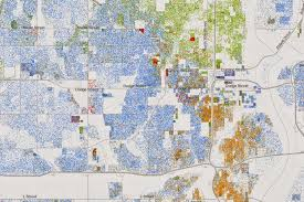 A map of Omaha created by Dustin Cable at the University of Virginia using 2010 census information. It is the most comprehensive map of racial distribution in America that exists, as reported by Wired, since it maps individuals. Each dot represents a person: blue shows white people, green shows African-American,  orange shows Latino and red shows Asian.