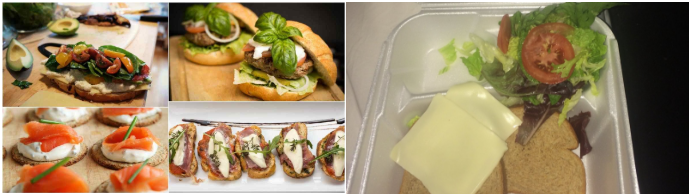 "On the left is a picture of the food that was promoted by the creators of the Fyre Festival in their social media advertisements. On the right is the ""five-star"" meal that attendees actually received."