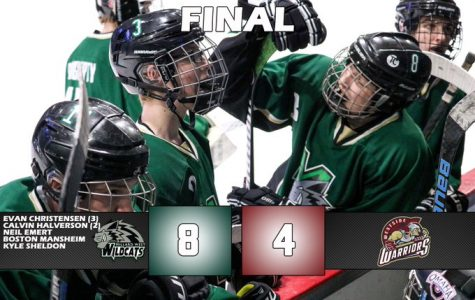 Evan Christensen scores three goals in the 8-4 victory over the Westside Warriors Sunday. Calvin Halverson adds two goals himself in the win.