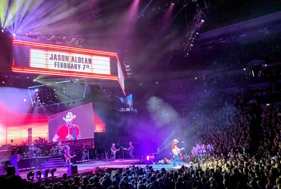 Country Star Jason Aldean performs Keeping it Small Town for a sold out crowd in Omaha on Friday, February 7th 2020.