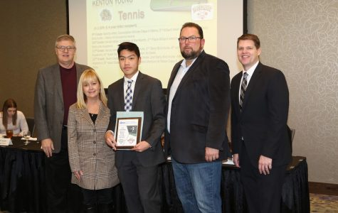 "From left to right: Stu Pospisil, MJ Robertson, Kenton Young, Derek Leathers, Andy Kendeigh Caption: Senior Kenton Young receives the fall Scholar Athlete Award during a luncheon on January 14th. ""The award was a little bit of a surprise because I wasn't sure I was going to get it,"" Young said. ""My school tennis coach, Coach Koziol, nominated me for this award and the Greater Omaha Sports Committee picked me for the top scholar-athlete in boys tennis."""