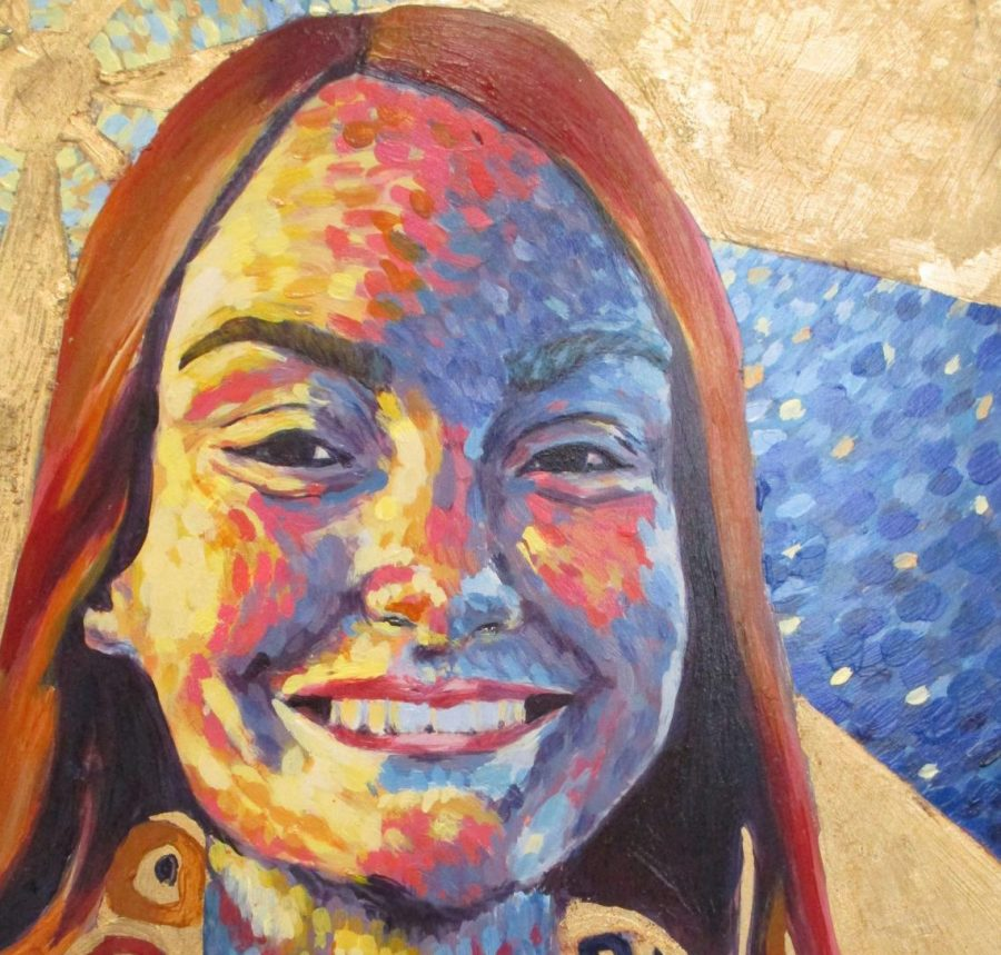 "Junior Delaney Aikins's painting titled ""Barney"" earned a Gold Key. Because of this, the piece will be entered into a competition in New York City. ""For the portrait we were supposed to use acrylic paints and then I went to Hobby Lobby and got gold foil,"" Aikins said. ""I wanted to mess with the foil and that's where the latter in her shawl came from."""