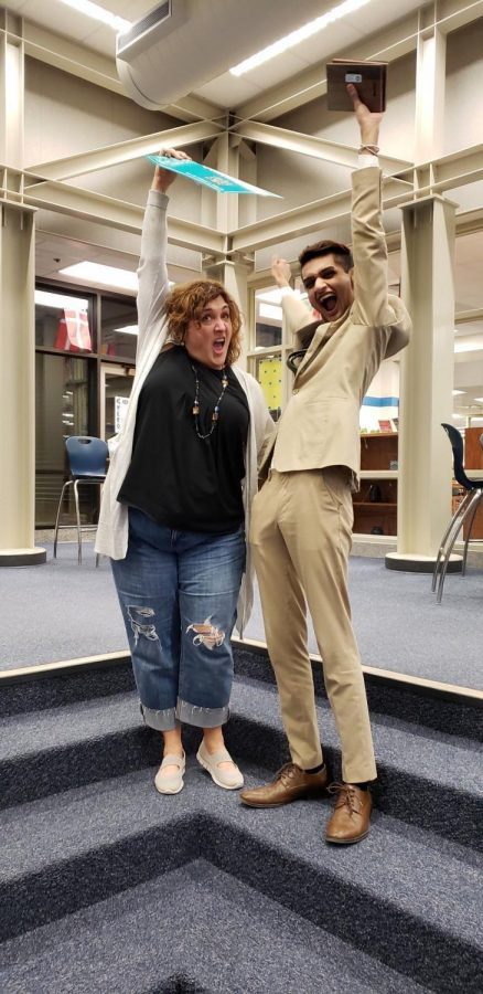 Forensics+sponsor+Jennifer+Jerome+and+senior+Aaryan+Naik+celebrate+after+qualifying+for+the+NSDA+nationals.+%E2%80%9CAaryan+didn%E2%80%99t+join+the+team+until+February+of+his+Freshman+year%2C%E2%80%9D+Jerome+said.+%E2%80%9CHe+was+a+strong+competitor+from+the+get+go.+It%E2%80%99s+like+he+had+found+his+calling.+He+experimented+with+multiple+events+before+finding+his+strength+in+Informative+speaking.%E2%80%9D