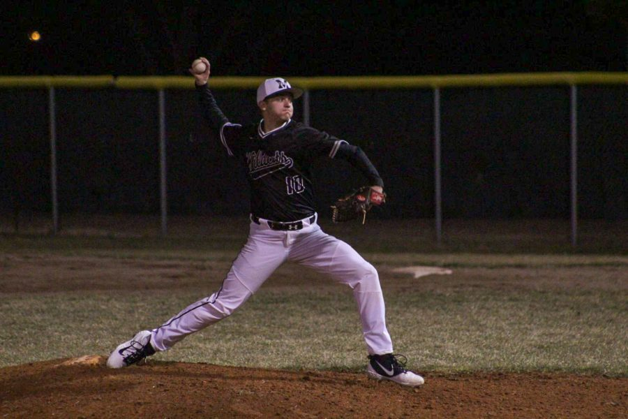 Senior+Seth+Claybourne+pitching+a+ball+at+one+of+his+games+in+the+2019-2020+school+year.
