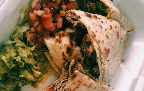 Steak Quesadilla Fajita. It is filled with steak, cheese, peppers and onions. It was delicious and very appetizing.