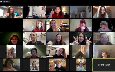 Journalism students seen collaborating with each other through the video chatting app Zoom.